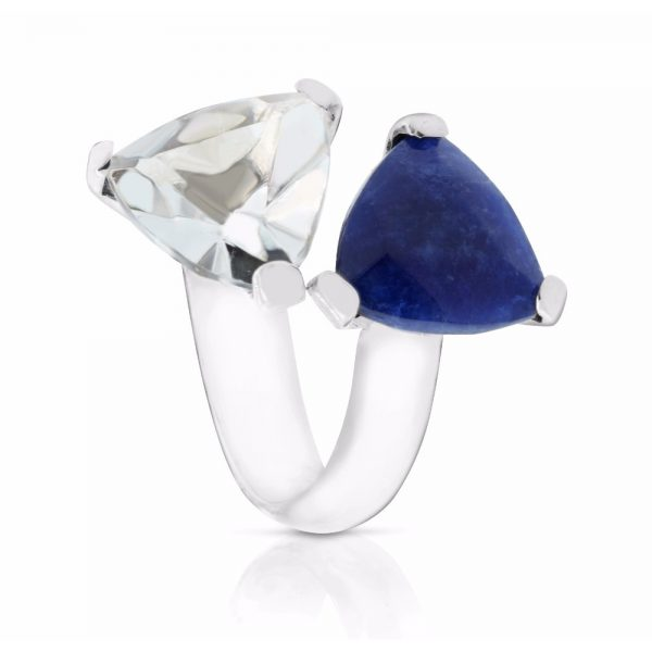 DUO RING IN CRYSTAL AND SODALITE